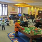 Kids area with train table